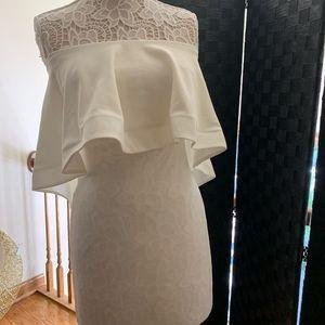 Fashion nova ivory Raffle overlay strapless dress